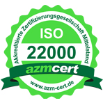 Zertifikatsurkunde 22000  der Firma Schade Kunststoff-Verpackungen